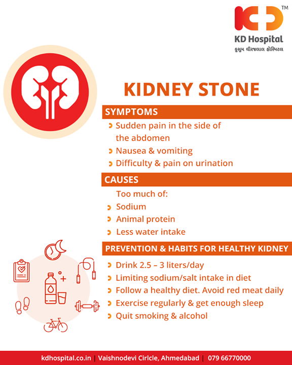 A common problem in the kidneys is kidney stones. Kidney stones start as crystals that grow over time. Here is the information you need to know about Kidney Stones.  #KidneyStones #KDHospital #Ahmedabad #Healthcare #HealthyLifestyle #GoodHealth