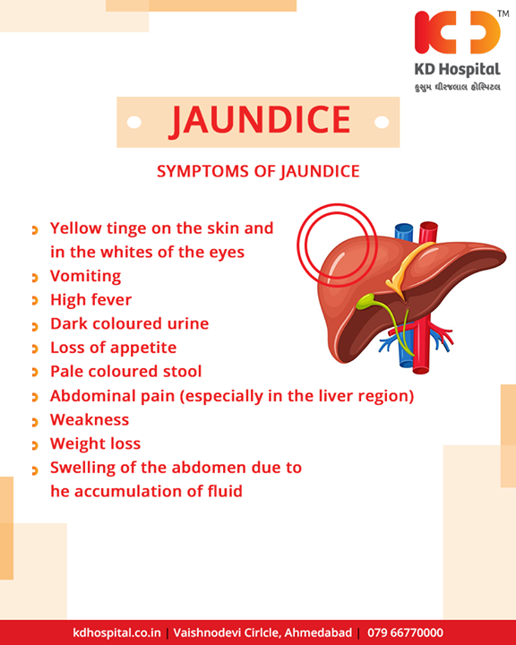 When the liver is not metabolizing bilirubin the way it is supposed to, jaundice occurs.  #KDHospital #Ahmedabad #Healthcare #HealthyLifestyle #GoodHealth #Jaundice #JaundiceAwareness