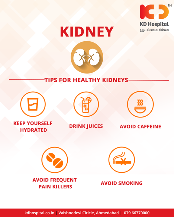 Here are some quick tips for keeping your kidneys healthy.   Get yourself a health checkup at KD Hospital, Call +91 79 6677 0003 to book an appointment!  #KDHospital #Ahmedabad #Healthcare #HealthyLifestyle #GoodHealth