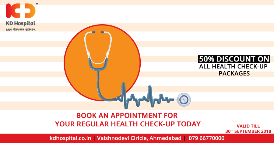 Book an appointment : 079-66770000 Regular health exams and tests can help find problems before they start. They also can help find problems early, when your chances for treatment and cure are better. By getting the right health services, screenings, and treatments, you are taking steps that help your chances for living a longer, healthier life.  #KDHospital #Ahmedabad #Healthcare #HealthyLifestyle #GoodHealth