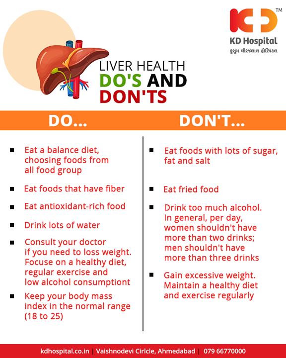 Keep your liver healthy with these nutrition and fitness tips   #KDHospital #Ahmedabad #Healthcare #HealthyLifestyle #GoodHealth