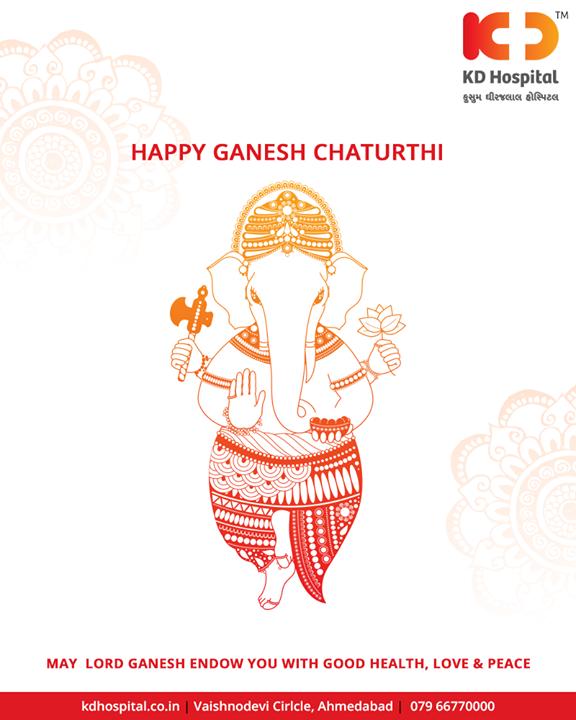 May Lord Ganesh endow you with good health, love & peace   #GaneshChaturthi #GanpatiBappaMorya #Ganeshotsav #HappyGaneshChaturthi #GaneshChaturthi2018 #KDHospital #Ahmedabad