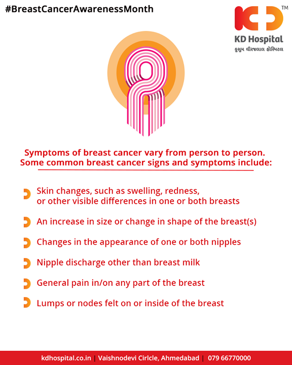 If you observe any of the above symptoms consult your doctor!  #breastcancer #October #BreastCancerAwareness #BreastCancerAwarenessMonth #KDHospital #Ahmedabad #Healthcare #HealthyLifestyle #GoodHealth