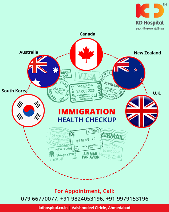 Time to get yourself prepped up for your next #InternationalTrip with the Immigration health check-up at KD Hospital!  #KDHospital #Ahmedabad #Healthcare #HealthyLifestyle #GoodHealth #ImmigrationHealthCheckUp