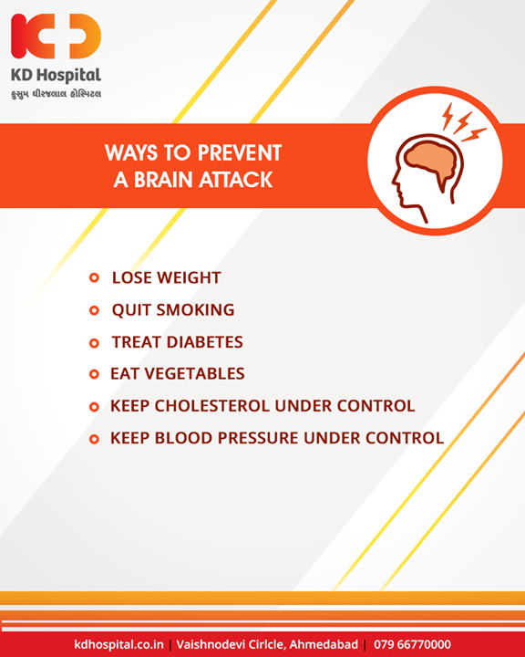 These are the absolute ways to prevent a brain attack.  #BrainAttack #BrainStroke #Warnings #KDHospital #GoodHealth #Ahmedabad #Gujarat #India