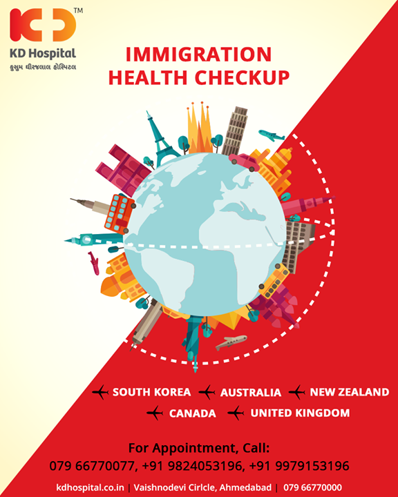 Planning to travel abroad? Get yourself tested with our immigration health checkup!   #InternationalTrip #KDHospital #Ahmedabad #Healthcare #HealthyLifestyle #GoodHealth #ImmigrationHealthCheckUp