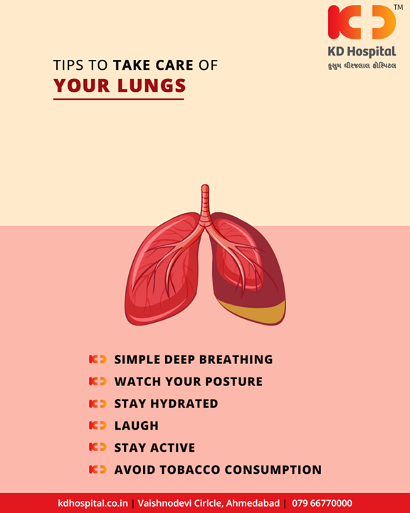 Easy tips to take care of your lungs for healthy lungs!  #HealthyLungs #HappyLife #KDHospital #GoodHealth #Ahmedabad #Gujarat #India
