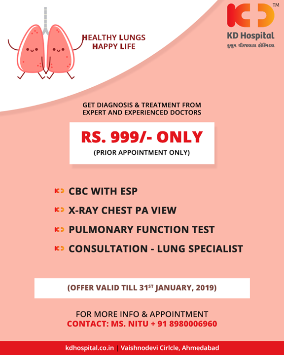 A healthy lung is a happy lung!   #HealthyLungs #HappyLife #KDHospital #GoodHealth #Ahmedabad #Gujarat #India