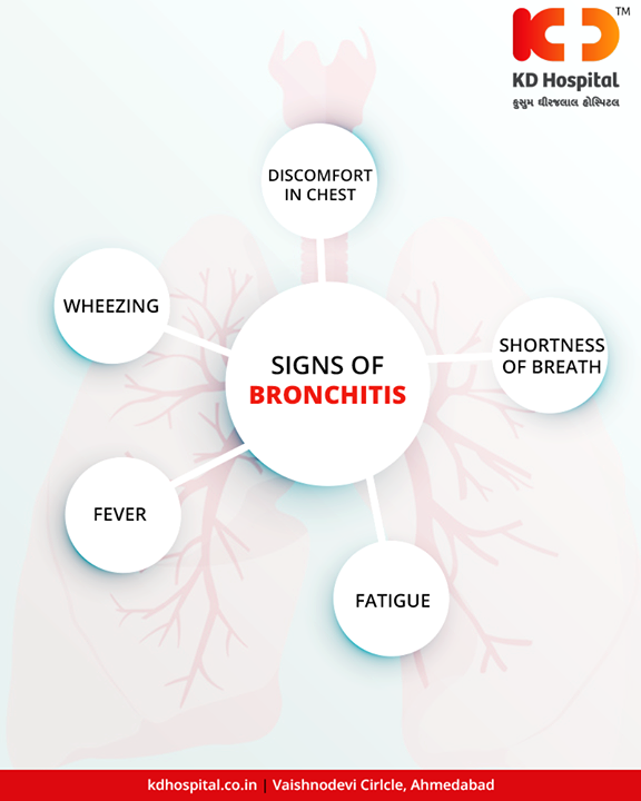 Your bronchial tubes, which carry air to your lungs, can get infected and swollen. When that happens, it's called bronchitis. Symptoms of this condition include a nagging cough, and you might hack up mucus that's yellow or green.  #LungCare #HappyLife #KDHospital #GoodHealth #Ahmedabad #Gujarat #India