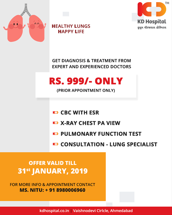 Take care of your lungs with us!  #HealthyLungs #HappyLife #KDHospital #GoodHealth #Ahmedabad #Gujarat #India