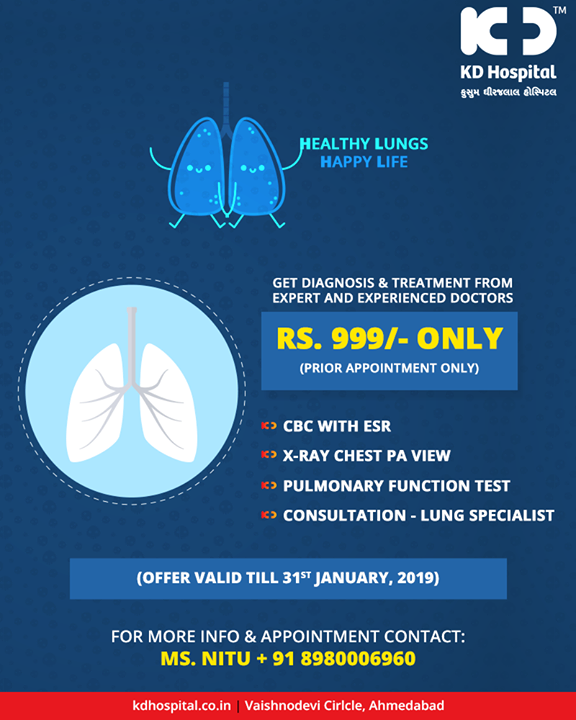 A healthy lung is a happy lung, get diagnosis treatment for your lungs!   #KDHospital #GoodHealth #Ahmedabad #Gujarat #India #LungCare