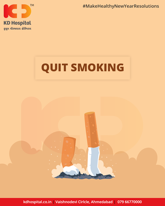 2019 is all about framing a new version of you by sidetracking all the bad habits which can cause any problems to your lives. Moreover, quitting smoking is one of the best things you can do for saving your health. Smoking is such a heinous disease which can cause lung cancer, and may also lead to heart disease, COPD, stroke, and asthma.   #MakeHealthyNewYearResolutions #KDHospital #GoodHealth #Ahmedabad #Gujarat #India