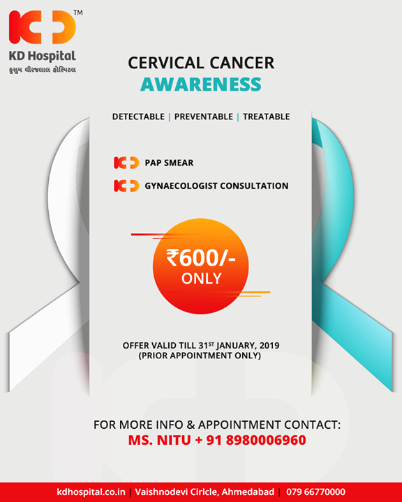 Don't fear the smear, get yourself tested for Cervical cancer & help us spread the awareness!  #CervicalCancer #KDHospital #GoodHealth #Ahmedabad #Gujarat #India