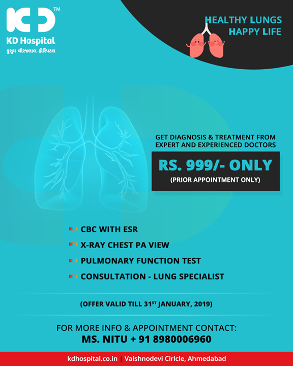 Care for your lungs? Get them diagnosed from experts!       #KDHospital #GoodHealth #Ahmedabad #Gujarat #India