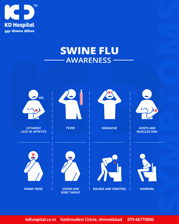 Swine flu is the name for the influenza type A virus that affects pigs (swine). Although swine flu doesn't typically affect humans, there was a global outbreak (pandemic) in 2009–2010, the first flu pandemic in more than 40 years.  #KDHospital #GoodHealth #Ahmedabad #Gujarat #India