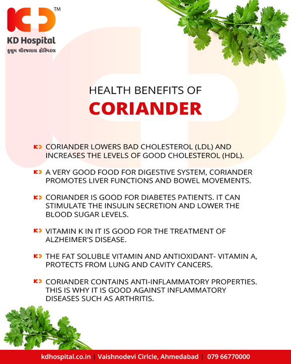 Coriander leaves are rich in Vitamin C, Vitamin K and protein. They also contain small amounts of calcium, phosphorous, potassium, thiamine, niacin and carotene. Here go some of the health benefits of coriander leaves.  #KDHospital #GoodHealth #Ahmedabad #Gujarat #India