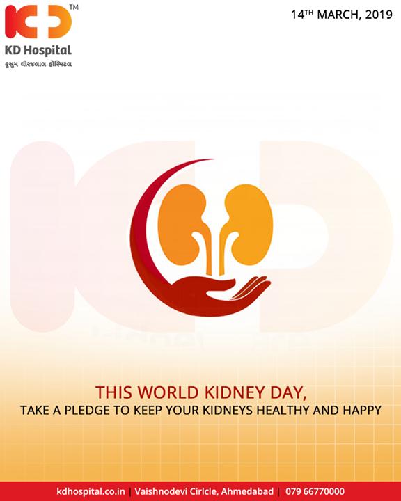 Take a pledge to keep your kidneys healthy and happy!  #WorldKidneyDay #WorldKidneyDay2019 #KDHospital #GoodHealth #Ahmedabad #Gujarat #India