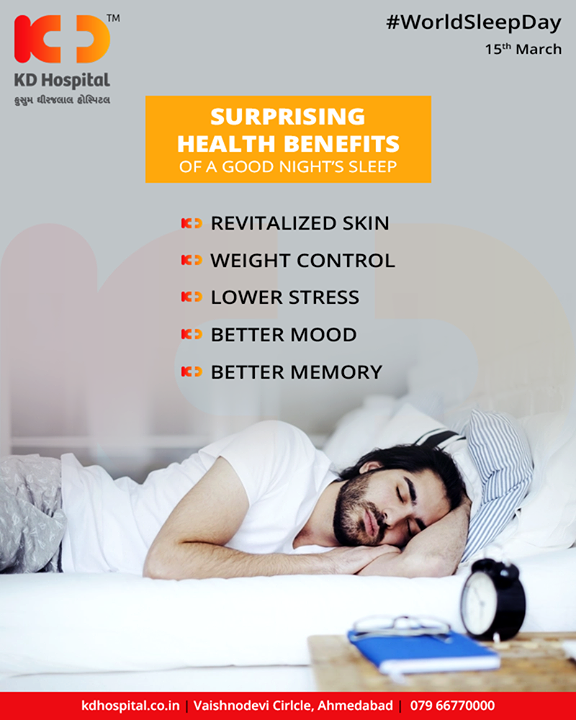 Quality sleep will keep you performing your best. Like diet and exercise, sleep is essential for optimal health and performance.  #WorldSleepDay #SleepDay #KDHospital #GoodHealth #Ahmedabad #Gujarat #India