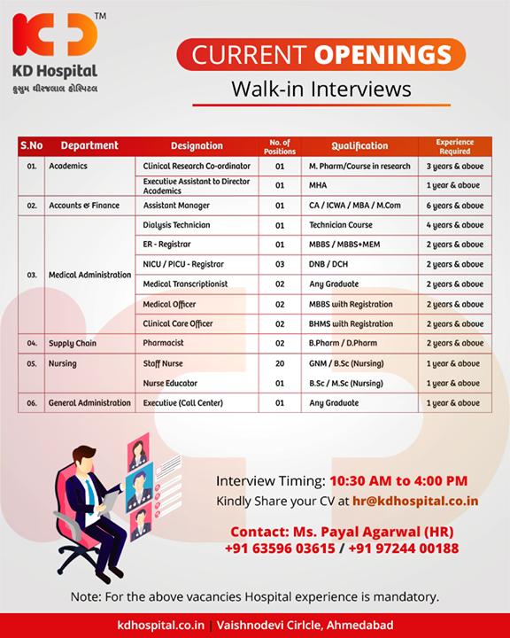 We are hiring!  #WeAreHiring #KDHospital #GoodHealth #Ahmedabad #Gujarat #India