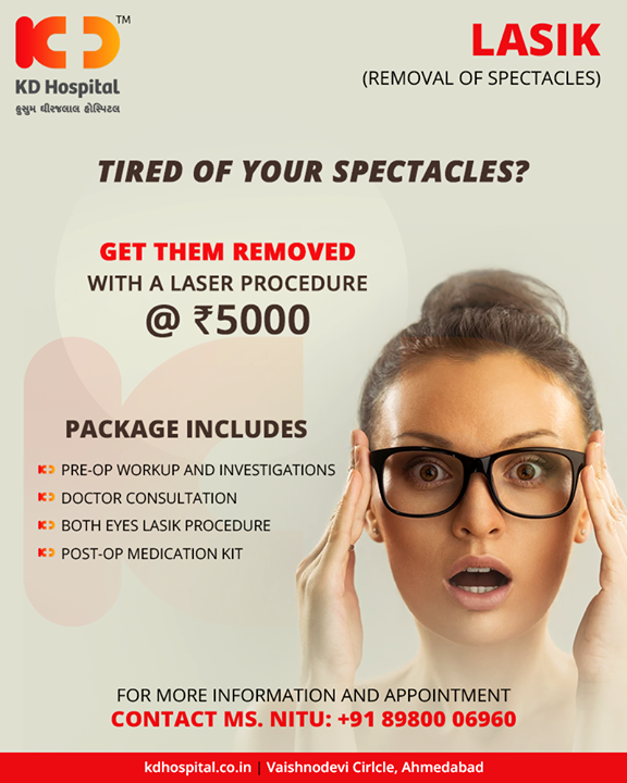 Get rid of your specs with a special laser procedure!   #KDHospital #AnniversaryOffer #GoodHealth #Ahmedabad #Gujarat #India