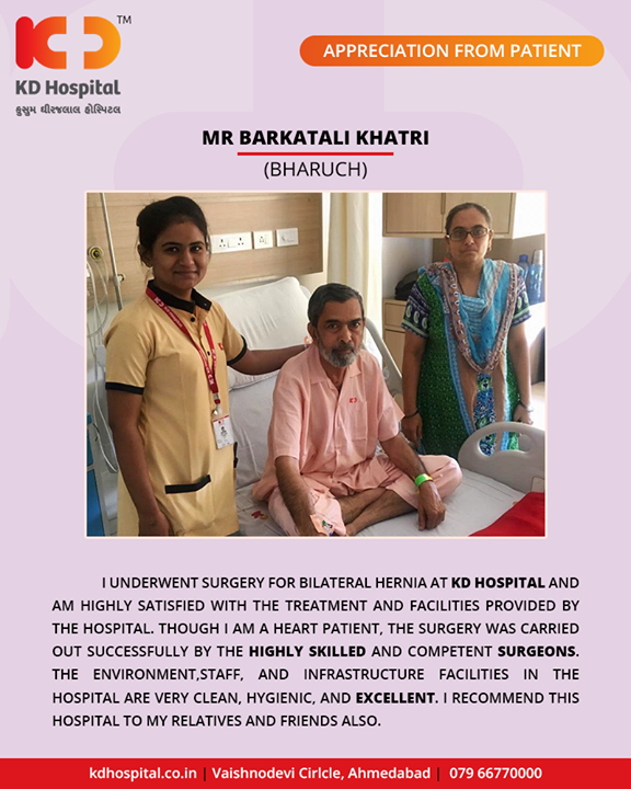It feels great to receive such positive & heart-warming feedback from our patients!  #KDHospital #GoodHealth #Ahmedabad #Gujarat #India