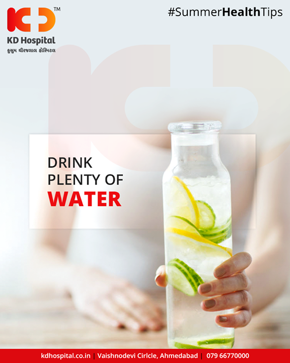 During the hot summer months, heat and sweat can leave your body dehydrated. A lack of water is harmful to your body and can also make you crave food when you're not actually hungry. It is incredibly important to keep yourself hydrated by drinking at least eight to nine glasses of water a day. Bored of water? Add some low calorific flavoring to water such as a piece of fruit, or opt for healthy alternatives like green tea or coconut water.  #SummerHealthTips #KDHospital #GoodHealth #Ahmedabad #Gujarat #India