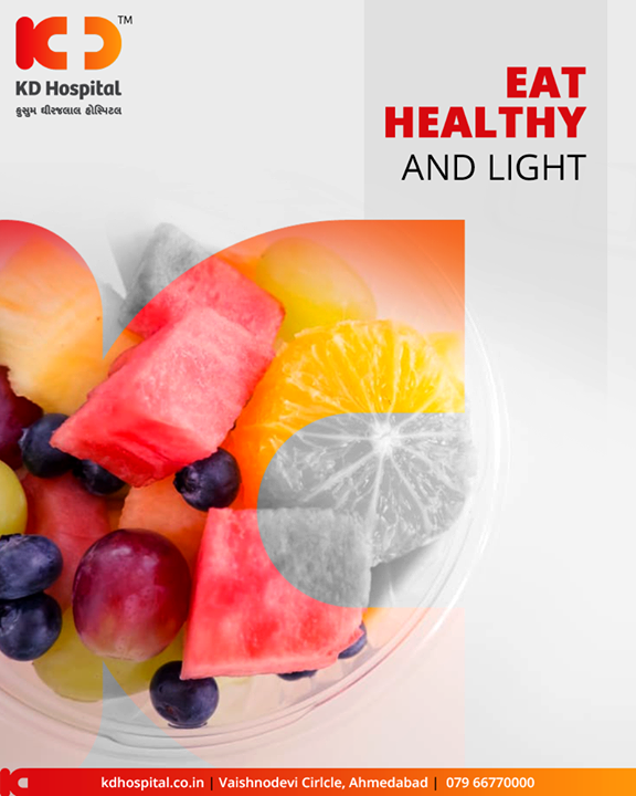 Eat light, small, frequent meals. Heavy meals with large amounts of carbohydrates and fats give rise to a lot of heat in the body. Focus on fresh fruits and vegetables that have high water content - such as oranges, watermelon, tomatoes, etc. Consume leafy lettuce and summer greens to stay cool.  #SummerHealthTips #KDHospital #GoodHealth #Ahmedabad #Gujarat #India