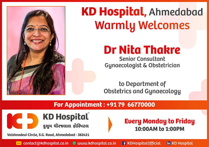 We're elated to welcome Dr Nita Thakre the noteworthy Gynaecologist & obstetrician to the Department of Obstetrics & Gynaecology  #KDHospital #GoodHealth #Ahmedabad #Gujarat #India