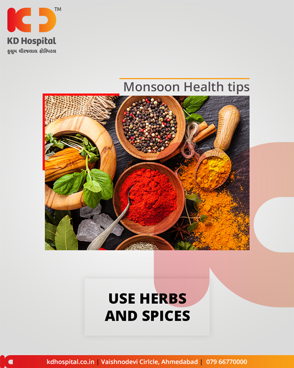 Include herbs and spices in your daily diet to boost your immunity and reduce your risk of falling sick. Herbs and spices like turmeric, cinnamon, ginger, garlic, mint, holy basil, etc, are packed with essential nutrients and antioxidants that are beneficial for your health.  #MonsoonHealthTips #KDHospital #GoodHealth #Ahmedabad #Gujarat #India