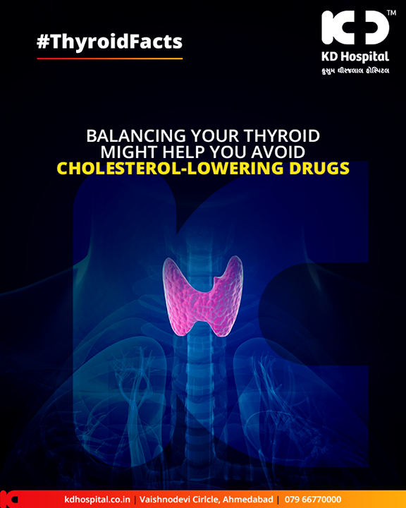 Your #thyroidgland if kept in optimum condition might help you avoid cholesterol-lowering drugs!   #KDHospital #GoodHealth #Ahmedabad #Gujarat #India