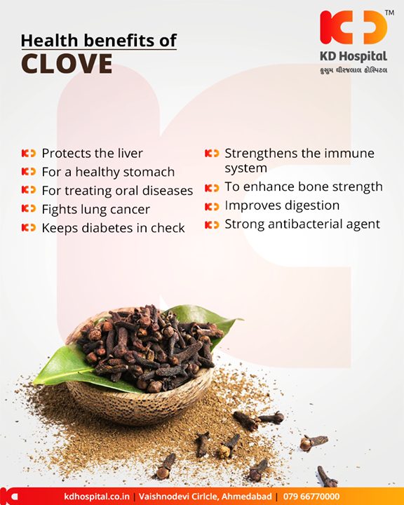 Clove comes packed with a host of health benefits!    #HealthBenefits #KDHospital #GoodHealth #Ahmedabad #Gujarat #India