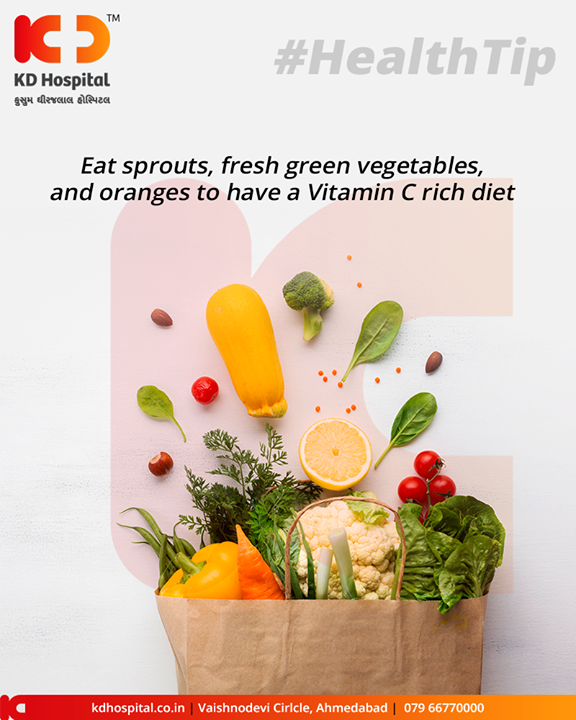 Monsoon is the perfect time for viruses and bacteria to thrive. The air has more bacteria during this time than at any other point. To remain healthy, you need to increase your immunity. One of the easiest ways of doing that is increasing your Vitamin C intake. Eat sprouts, fresh green vegetables, and oranges to have a Vitamin C rich diet.  #MonsoonHealthDiet #KDHospital #GoodHealth #Ahmedabad #Gujarat #India