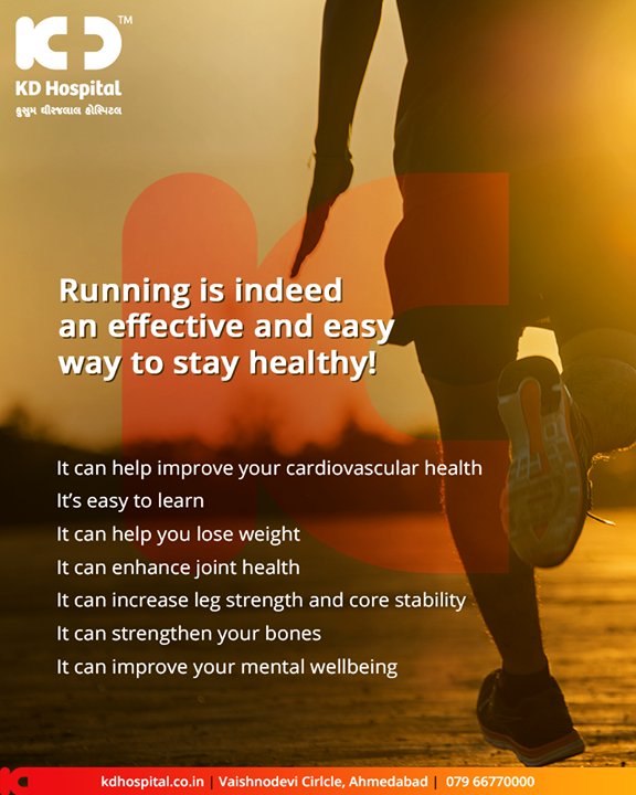 The practical benefits of running include its convenience and affordability, but from a health standpoint, it's an effective way to keep both your body and brain in great shape.       #KDHospital #GoodHealth #Ahmedabad #Gujarat #India