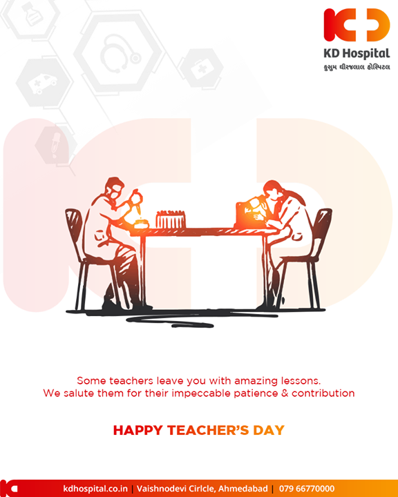 Some teachers leave you with amazing lessons. We salute them for their impeccable patience & contribution.  #HappyTeachersDay #TeachersDay #TeachersDay2019 #KDHospital #GoodHealth #Ahmedabad #Gujarat #India