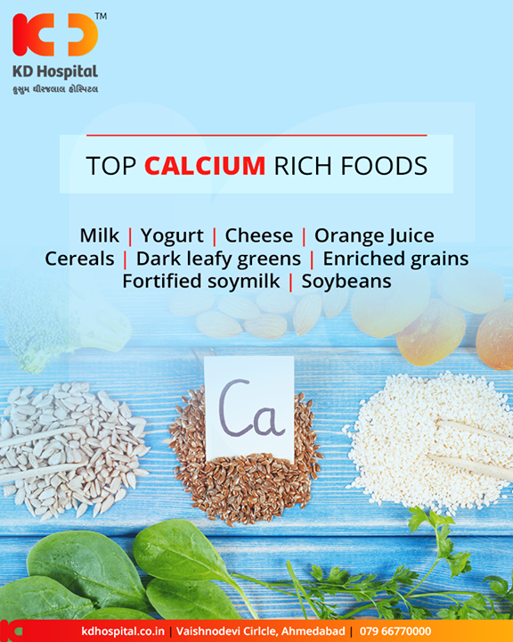 Calcium in any form is good for your body. Some of the top calcium-rich foods are as shown in the image!       #KDHospital #GoodHealth #Ahmedabad #Gujarat #India