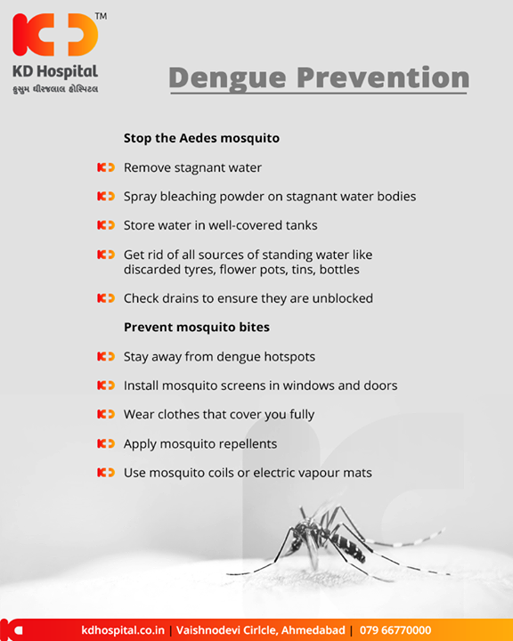 #Dengue prevention tips to keep your family safe from Dengue.   #DenguePreventionTips #DengueFever #KDHospital #GoodHealth #Ahmedabad #Gujarat #India