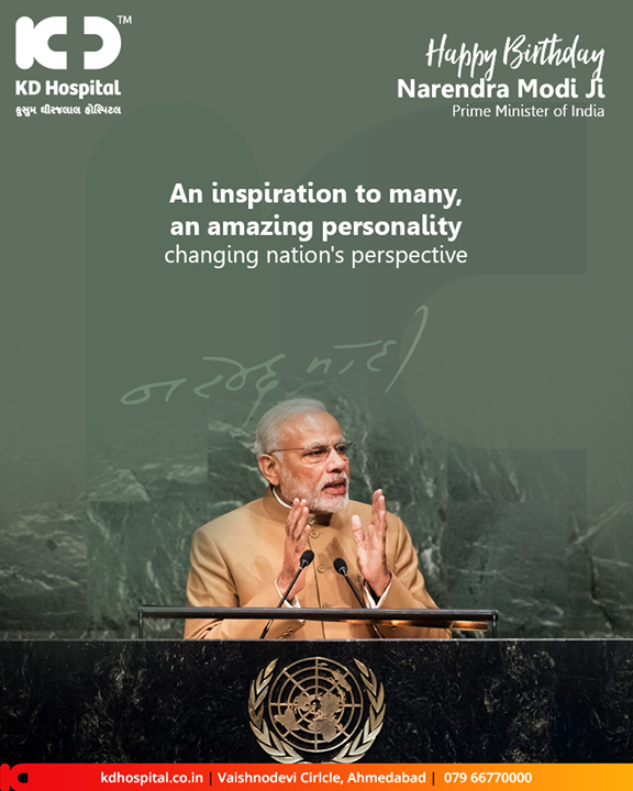 An inspiration to many, an amazing personality changing nation's perspective.  #HappyBdayPMModi #HappyBirthDayPM #NarendraModi #NAMO #KDHospital #GoodHealth #Ahmedabad #Gujarat #India