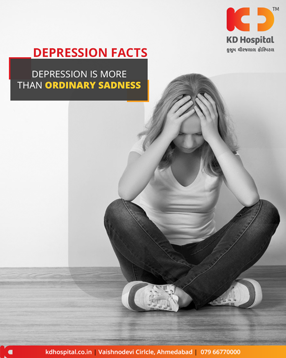 Sadness is a part of being human, a natural reaction to painful circumstances. All of us will experience sadness at some point in our lives. Depression, however, is a physical illness with many more symptoms than an unhappy mood.     #DepressionFacts #KDHospital #GoodHealth #Ahmedabad #Gujarat #India