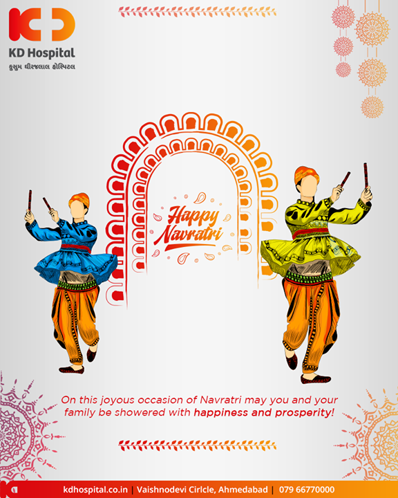 On this joyous occasion of Navratri may you and your family is showered with happiness and prosperity!  #Navratri #Navratri2019 #HappyNavratri #Dandiya #Garba #NavratriFever #IndianFestivals #ShubhNavratri #Festival #Celebration #KDHospital #GoodHealth #Ahmedabad #Gujarat #India