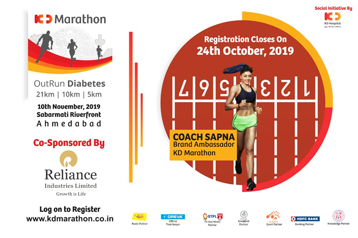 Calling all the runners to get themselves registered at OutRun Diabetes!  #KDMarathon #OutRunDiabetes #diabetesawareness #marathon #marathon2019 #marathonahmedabad #marathonsupport #running #run #amdavadi #ahmedabadmarathon #runningmarathon #marathons #fitnessmotivation #halfmarathon #runthecity #runnerworld #marathonin2019