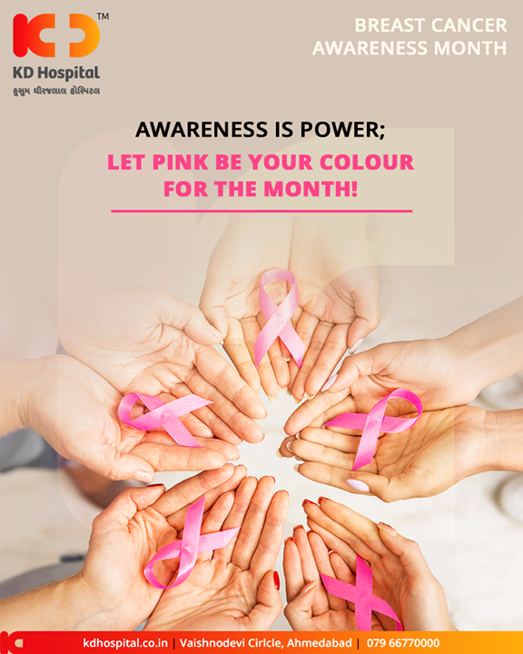 Awareness is power; let pink be your colour for the month! Together let us make efforts to raise awareness and reduce the stigma of breast cancer.  #Awareness #BreastCancer #KDHospital #GoodHealth #Ahmedabad #Gujarat #India