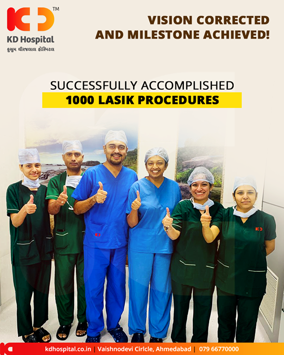 Vision corrected & milestone achieved! Envisioned with correcting the vision, our Ophthalmology Department has successfully accomplished 1000 LASIK procedures.  #Achievement #KDHospital #GoodHealth #Ahmedabad #Gujarat #India