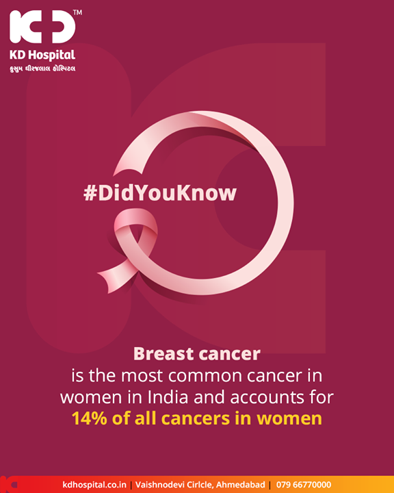Breast cancer is the most common cancer in women in India and accounts for 14% of all cancers in women.  #Awareness #BreastCancer #KDHospital #GoodHealth #Ahmedabad #Gujarat #India