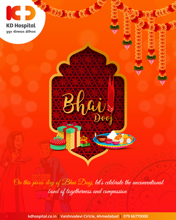 On this pious day of Bhai Dooj, let's celebrate the unconventional bond of togetherness and compassion.  #BhaiDooj #Diwali2019 #BhaiDooj2019 #Celebration #FestiveSeason #IndianFestivals #BrotherSister #HappyBhaiDooj #KDHospital #GoodHealth #Ahmedabad #Gujarat #India