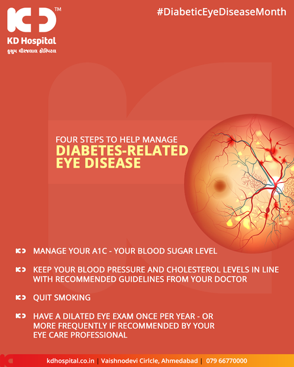 Four Steps to help manage Diabetic related eye disease  #DiabeticEyeDiseaseMonth #KDHospital #GoodHealth #Ahmedabad #Gujarat #India