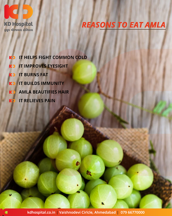 It has eight times more vitamin C than an orange, twice the antioxidant power of acai berry and around 17 times that of a pomegranate. The humble Indian gooseberry, commonly known as amla, truly deserves its superfood status.  #KDHospital #goodhealth #health #wellness #fitness #healthy #healthiswealth #wealth #healthyliving #joy #patientscare #Ahmedabad #Gujarat #India