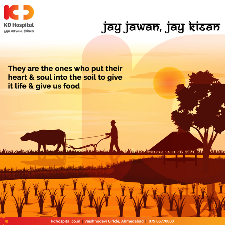 They are the ones who put their heart & soul into the soil to give it life & give us food  #KisanDivas #Agriculture #Kisan #Farmers #NationalFarmersDay #FarmersDay #BackboneOfOurNation #Economy #KisanDivas2019 #KDHospital #GoodHealth #Ahmedabad #Gujarat #India
