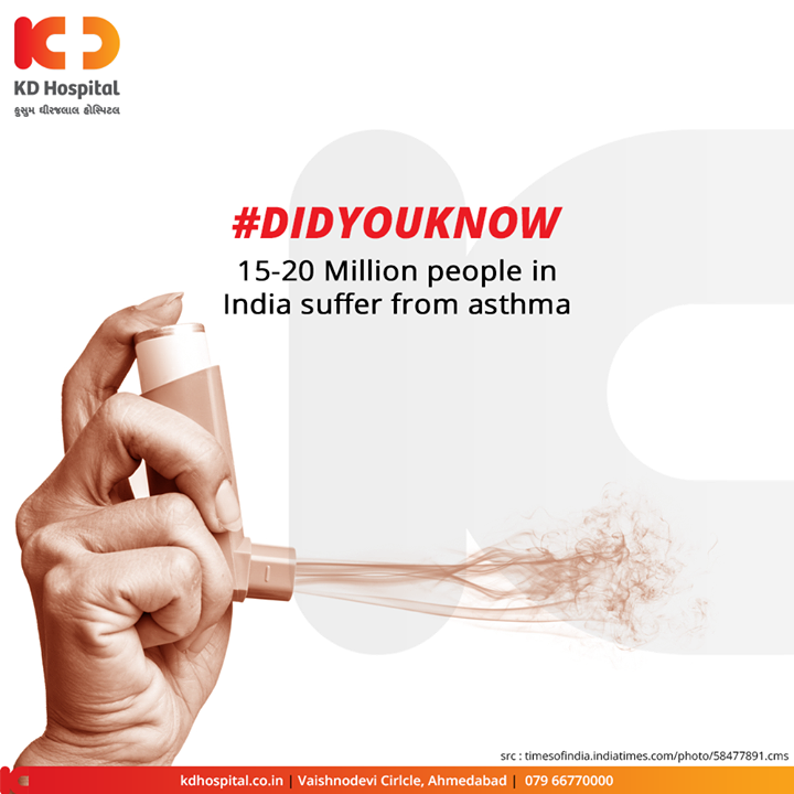 Did You Know? 15-20 million people in India suffer from asthma!  For appointment call: +91 79 6677 0000  #DidYouKnow #KDHospital #goodhealth #health #wellness #fitness #healthy #healthiswealth #wealth #healthyliving #joy #patientscare #Ahmedabad #Gujarat #India