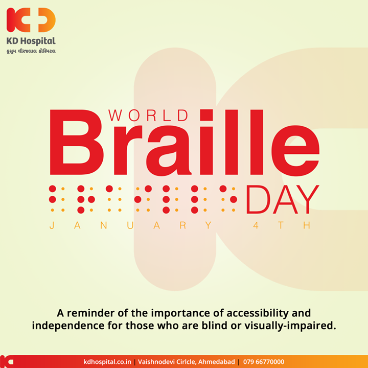 A reminder of the importance of accessibility and independence for those who are blind or visually impaired.  #WorldBrailleDay #BrailleDay #KDHospital #goodhealth #health #wellness #fitness #healthy #healthiswealth #wealth #healthyliving #joy #patientscare #Ahmedabad #Gujarat #India