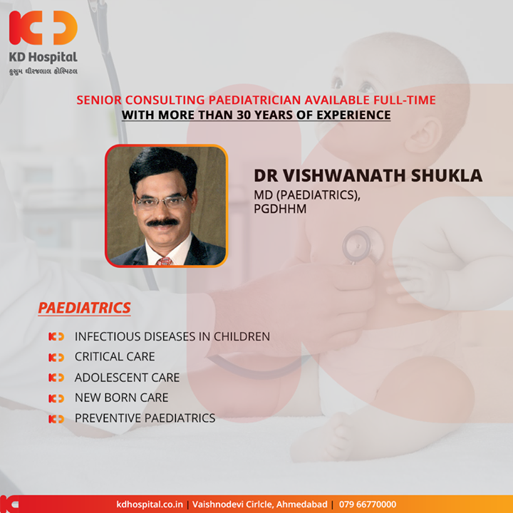 Senior Consulting Paediatrician Available Full-time with more than 30 years of experience  For appointment call: +91 79 6677 0000  #KDHospital #goodhealth #health #wellness #fitness #healthy #healthiswealth #wealth #healthyliving #joy #patientscare #Ahmedabad #Gujarat #India